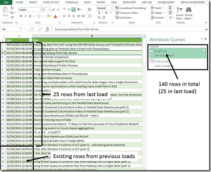 Incremental data loads in Microsoft Power Query for Excel
