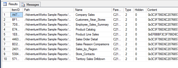Table with Query Results