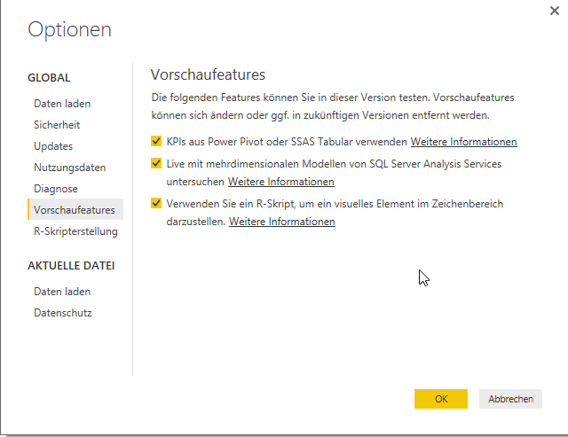 Preview Funktion Power BI