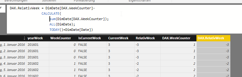 How to create relative week column in Power BI? | ORAYLIS