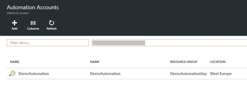 Select Azure Automation Account