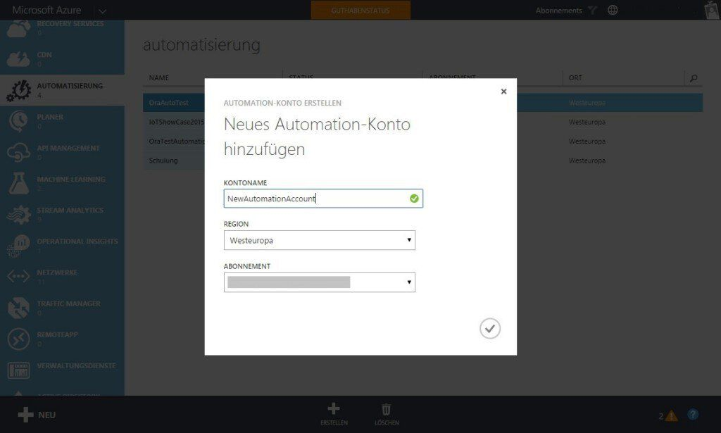 Automation Account anlegen