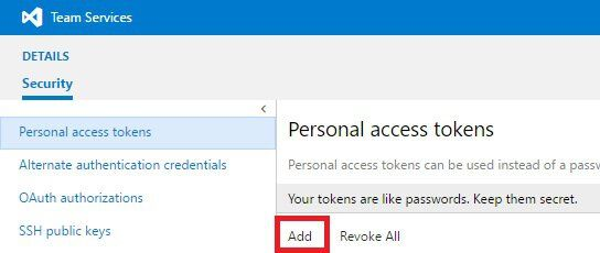 DevTest Labs Personal access tokens
