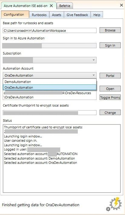 PowerShell ISE Add-on select account