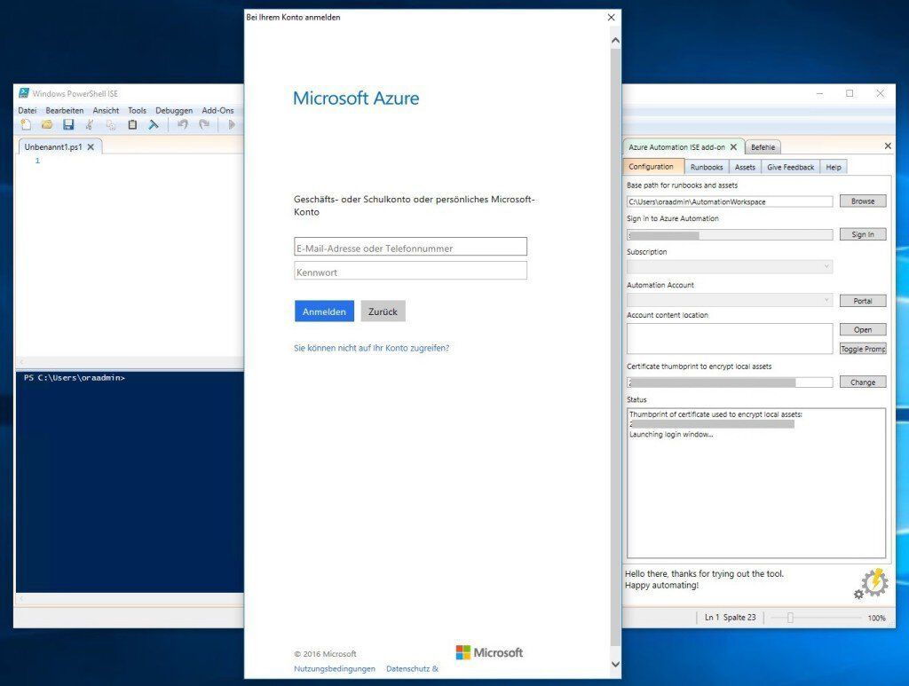 PowerShell ISE Add-on login