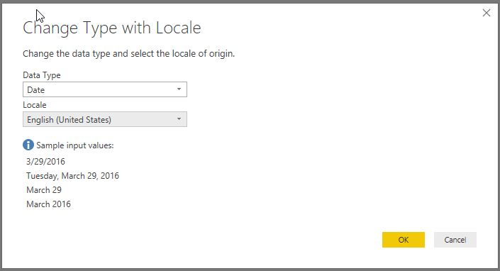 Change type with locale