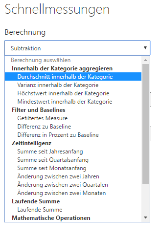 Liste der Qucik Measures