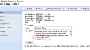 Setting unused Reporting Services (SSRS) Reports invisible by script